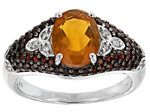 Photo of 1.40ct Oval Fire Opal, .06ctw White Zircon, .34ctw Vermelho Garnet™ Silver Ring - Size 6