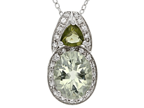 Photo of 1.96ct Oval Prasiolite, .56ctw Moldavite And .18ctw White Zircon Sterling Silver Pendant With Chain