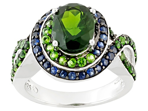 Photo of 2.28ctw Oval And Round Russian Chrome Diopside With .42ctw Round Blue Sapphire Sterling Silver Ring - Size 11