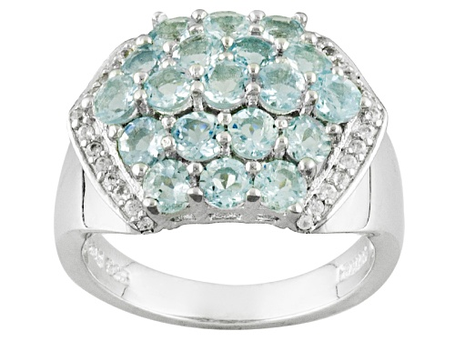 Photo of 2.28ctw Round Aquamarine With .24ctw Round White Zircon Sterling Silver Ring - Size 7