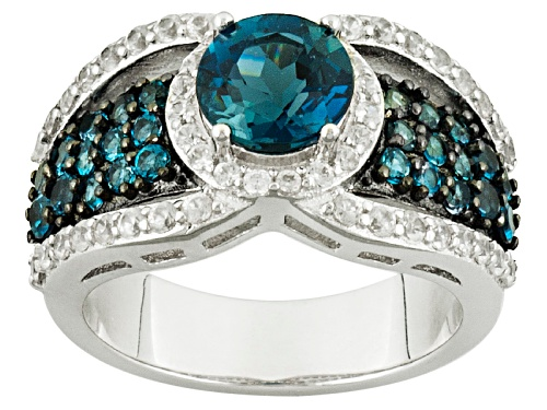 Photo of 2.13ctw Round London Blue Topaz With .68ctw Round White Zircon Sterling Silver Ring - Size 6