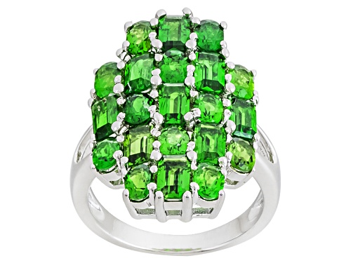 Photo of 4.65ctw Emerald Cut And Oval Russian Chrome Diopside Sterling Silver Ring - Size 9