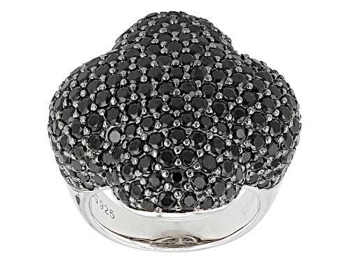 Photo of 7.07ctw Round Black Spinel Sterling Silver Ring - Size 6