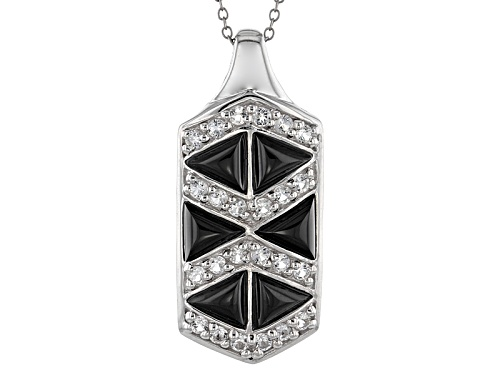 Photo of 6mm Trillion Cabochon Black Onyx With .91ctw Round White Topaz Silver Pendant With Chain