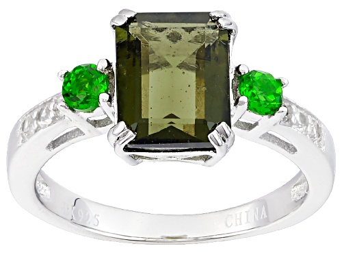 Photo of 1.45ct Emerald Cut Moldavite, .18ctw Chrome Diopside, And   .10ctw White Zircon Sterling Silver Ring - Size 12