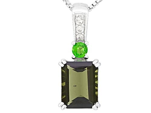 Photo of 1.45ct Emerald Cut Moldavite, .09ct Chrome Diopside, & .05ctw White Zircon Silver Pendant With Chain