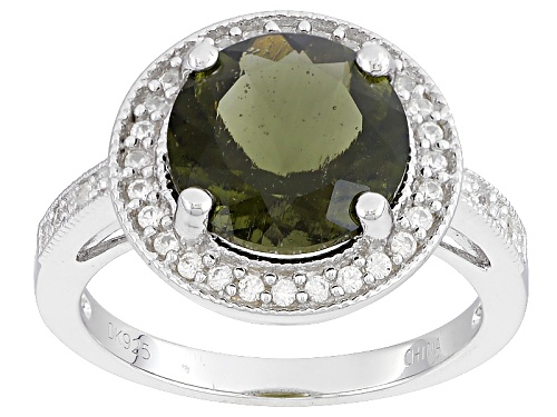 Photo of 2.35ct Round Moldavite And .18ctw Round White Zircon Sterling Silver Ring - Size 11