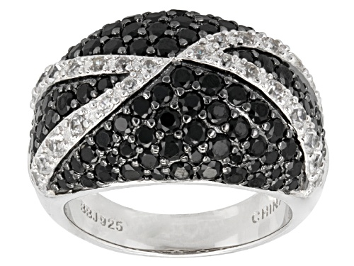 Photo of 2.76ctw Round Black Spinel With .71ctw Round White Zircon Sterling Silver Dome Ring - Size 7