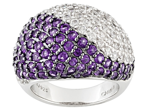 Photo of 1.76ctw Round African Amethyst And 2.77ctw Round White Zircon Sterling Silver Ring - Size 10