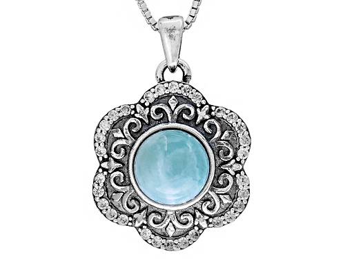 Photo of 8mm Round Larimar And .39ctw Round White Zircon Sterling Silver Pendant With Chain