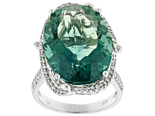 Photo of 17.85ct Oval Teal Fluorite And .45ctw Round White Zircon Sterling Silver Ring - Size 5