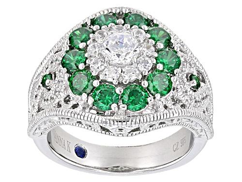 Photo of Vanna K ™ For Bella Luce ® 2.96ctw Round Emerald Simulant & Diamond Simulant Platineve® Ring - Size 5