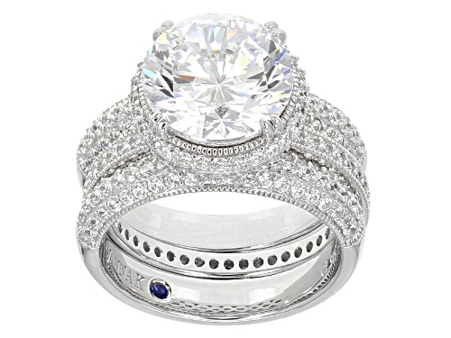 Photo of Vanna K™ For Bella Luce® 11.41ctw Vanna K Cut Round Platineve® Ring With Band (7.11ctw Dew) - Size 11