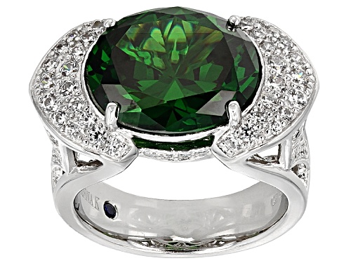 Vanna K ™ For Bella Luce ® 13.47ctw Emerald And White Diamond Simulants Platineve ™ Ring - Size 6
