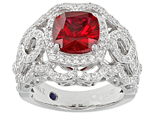 Photo of Vanna K ™ For Bella Luce ® 3.79ctw Lab Created Ruby/White Diamond Simulant Platineve® Ring - Size 9