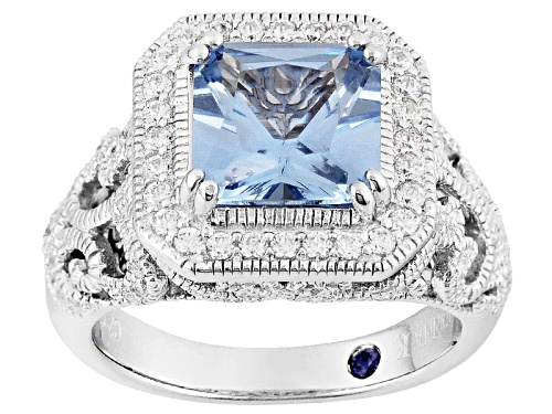 Photo of Vanna K ™ For Bella Luce ® 2.97ctw Lab Blue Spinel And White Diamond Simulant Platineve ™ Ring - Size 10