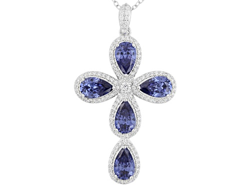 Photo of Vanna K ™For Bella Luce ®7.04ctw Tanzanite & White Diamond Simulants Platineve™Pendant W/Ch