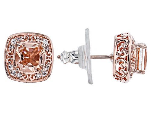 Photo of Vanna K™ For Bella Luce ® 1.62ctw Morganite & White Diamond Simulants Eterno ™ Rose Earrings