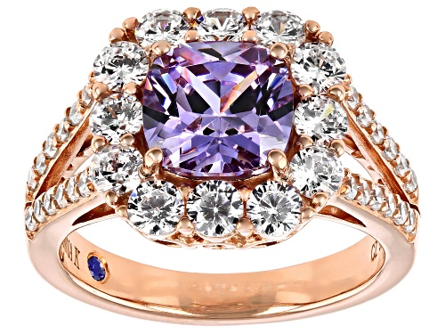 Photo of Vanna K™For Bella Luce®6.67ctw Lavender and White Diamond Simulants Eterno™Rose Ring (3.72ctw DEW) - Size 10