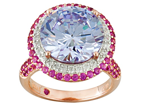 Photo of Kolore By Vanna K™ Amethyst/ White Diamond & Pink Sapphire Simulants Eterno™ Rose Ring - Size 8
