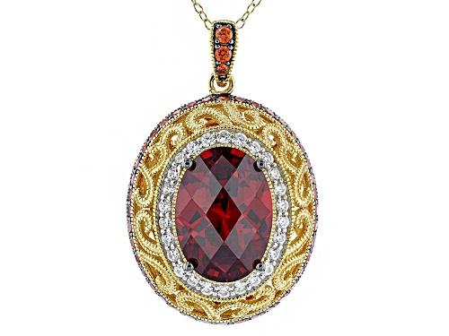 Photo of Kolore By Vanna K™10.91ctw Padparadscha Sapphire/Diamond Simulants Eterno™Yellow Pnd W/ Ch