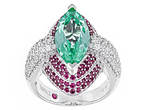 Photo of Kolore By Vanna K™6.64ctw Grn Paraiba Tourmaline/Pk Sapph/Wh Diamond Simulants Platineve® Ring - Size 7