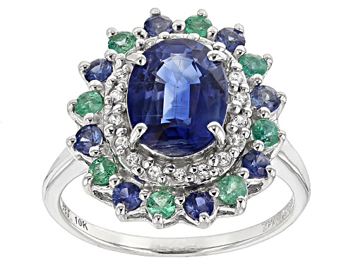 Photo of 1.91ct Kyanite,.11ctw White Zircon,.25ctw Zambian Emerald & .27ctw Blue Sapphire 10k White Gold Ring - Size 8