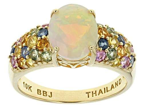 Photo of 1.28ct Ethiopian Opal, 1.24ctw Green, Blue, Pink, Orange, Yellow Sapphire 10k Yellow Gold Ring - Size 7