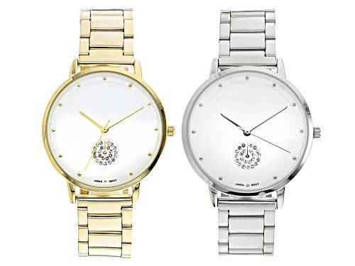 Photo of White Crystal Sub Dial Dial Gold Tone And Silver Tone Stainless Steel Band Watches. Set of 2
