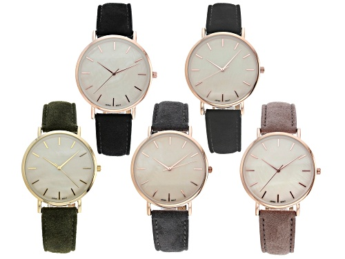 Photo of Gold Tone And Rose Tone Multi Color Suede Fabric Band Watches. Set of 5