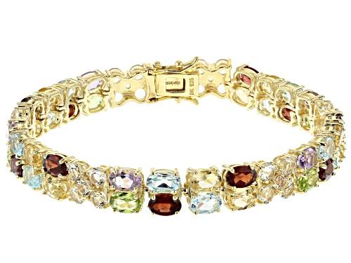 26.22ctw round, oval topaz, peridot, garnet, citrine, amethyst 18k gold over silver bracelet - Size 8