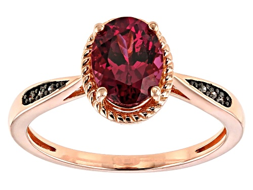 Photo of 1.49ct Oval Blush Color Garnet & .03ctw Champagne Diamond Accent 18k Rose Gold Over Silver Ring - Size 7