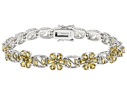 Photo of 5.22CTW MARQUISE,PEAR SHAPE, ROUND BRAZILIAN CITRINE RHODIUM OVER STERLING SILVER BRACELET - Size 8