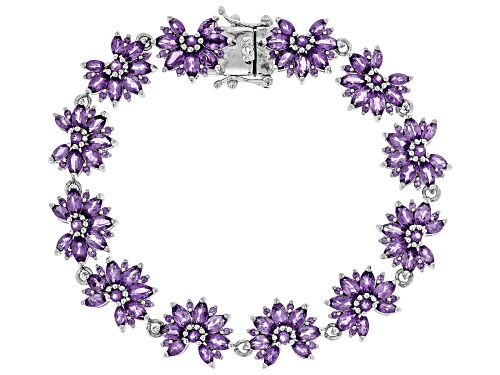 Photo of 8.96CTW MARQUISE AND ROUND AFRICAN AMETHYST RHODIUM OVER STERLING SILVER BRACELET - Size 7.25