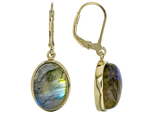 Photo of 14X10mm oval labradorite solitaire 18k gold over sterling silver dangle earrings