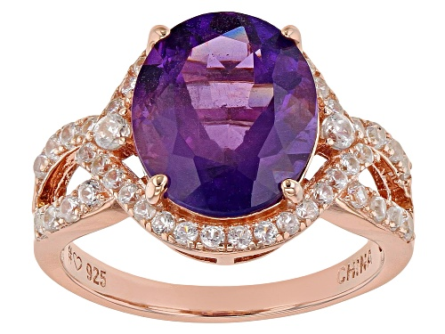 Photo of 3.83ct Oval African Amethyst With .72ctw Round White Zircon 18k Rose Gold Over Silver Ring - Size 9