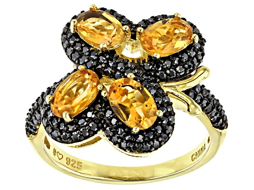 Photo of 1.60CTW OVAL BRAZILIAN CITRINE & .98CTW BLACK SPINEL 18K YELLOW GOLD OVER SILVER BUTTERFLY RING - Size 11