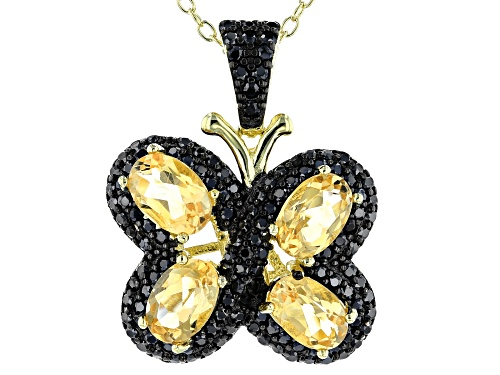 Photo of 1.60CTW CITRINE & .70CTW BLACK SPINEL 18K YELLOW GOLD OVER SILVER BUTTERFLY PENDANT WITH CHAIN