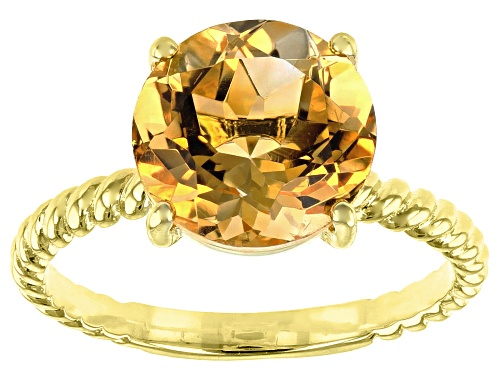 Photo of 2.70CT ROUND BRAZILIAN CITRINE 18K YELLOW GOLD OVER SILVER SOLITAIRE RING - Size 8
