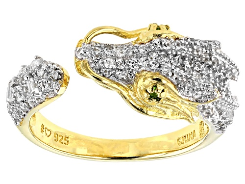 Photo of 1.08ctw White Zircon & .02ctw Chrome Diopside 18k Gold & Rhodium Over Silver Two-Tone Dragon Ring - Size 7
