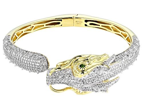 Photo of 7.26ctw White Zircon & Chrome Diopside 18k Gold & Rhodium Over Silver Two-Tone Dragon Bracelet - Size 6.75