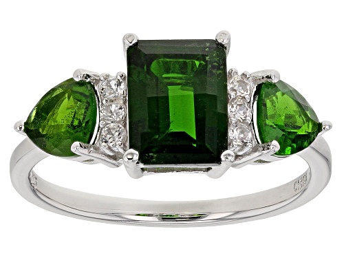 Photo of 2.34ctw Emerald Cut & Trillion Chrome Diopside With .12ctw White Zircon 18k Gold Over Silver Ring - Size 8
