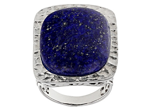 Photo of 25.5X17.5MM OVAL CABOCHON LAPIS LAZULI RHODIUM OVER STERLING SILVER SOLITAIRE RING - Size 7