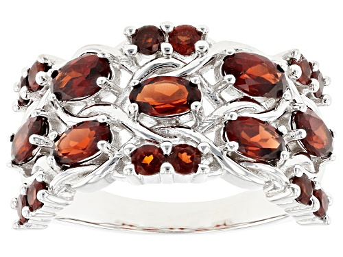 Photo of 2.33CTW OVAL AND ROUND VERMELHO GARNET(TM) RHODIUM OVER STERLING SILVER BAND RING - Size 6