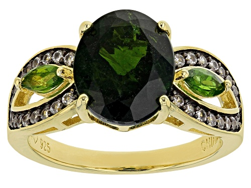 Photo of 3.70ctw Oval & Marquise Chrome Diopside With .34ctw White Zircon 18k Yellow Gold Over Silver Ring - Size 7