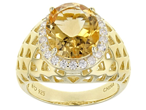 Photo of 3.47CT OVAL BRAZILIAN CITRINE WITH .62CTW WHITE ZIRCON 18K YELLOW GOLD OVER SILVER RING - Size 7