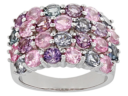 Photo of 4.27ctw Round Multi-Color Spinel Rhodium Over Sterling Silver Cluster Band Ring - Size 9