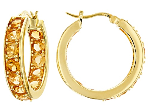 Photo of 5.98CTW ROUND BRAZILIAN CITRINE 18K YELLOW GOLD OVER SILVER HOOP EARRINGS