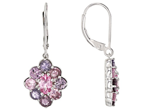 Photo of 3.47ctw Oval & Round Multi-Color Spinel Rhodium Over Silver Cluster Dangle Earrings