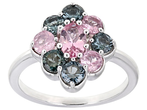 Photo of .43ct Oval Pink & 1.31ctw Mixed-Color Round Spinel Rhodium Over Sterling Silver Cluster Ring - Size 7